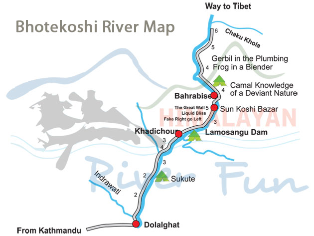 Map of Bhote Koshi River